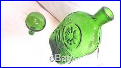 1 Vintage Mid Century Green Glass Sunflower Decanter Large Bulb Rossini Empoli