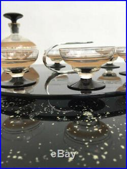 1930s glass decanter cocktail set Art Deco with six glasses vintage