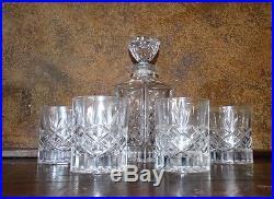 19315 Vintage Crystal Whiskey Decanter & 4 Glasses Bar Set / Barware Mancave