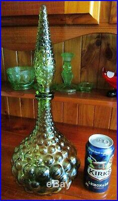 1960s RETRO VINTAGE SEA GREEN ITALIAN ART GLASS GENIE BOTTLE DECANTER & STOPPER