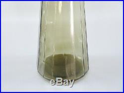 1960s Vintage 25 MCM Empoli Smoke Glass Teardrop Stopper Genie Bottle Decanter