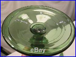 1x Vintage 17.5 TALL Empoli Art Glass Green Apothecary Decanter Jar RARE