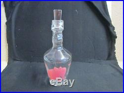 1x Vintage PINK ELEPHANT Clear Glass Decanter Bottle Music Notes Hazel Atlas