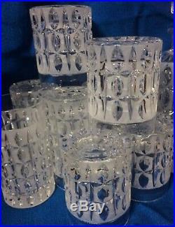 20pc! MCM Italian Crystal Cut 2 Decanters Highball Rocks Glasses Vintage Bar Set