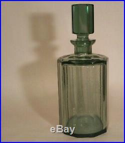 20s ART DECO vtg faceted moser cut crystal decanter antique glass liquor bottle