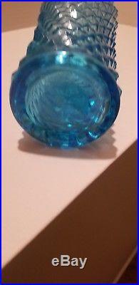 21 Vintage Italian Art Glass Tall Genie Bottle Decanter Turquoise Diamond Point
