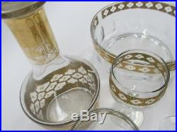 22k Gold Vintage Culver Valencia Set Decanter, Wine & Shot Glasses, Salad Bowl
