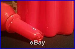 26 TOMATO RED vtg mcm italian cased empoli pop art glass decanter ribbed bottle