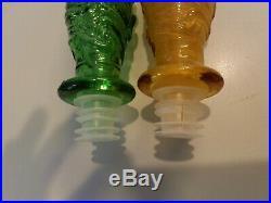2vintage Italian Genie Bottle Decanter Emerald Green/ Amber Wave MID Century