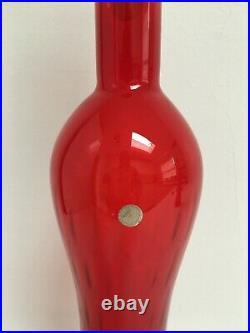 56cm Vintage Italian Red Hand Blown Hour Glass Optical Genie Bottle Decanter