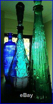 60s RETRO VINTAGE TEALGREEN ITALIAN ART GLASS FRUIT BASKET GENIE BOTTLE DECANTER