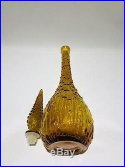 Amber Orange genie bottle decanter glass mcm vintage Made In Italy Wax Drip