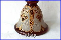 Antique Bohemian ruby overlay to clear glass perfume decanter and tray 1830-1850