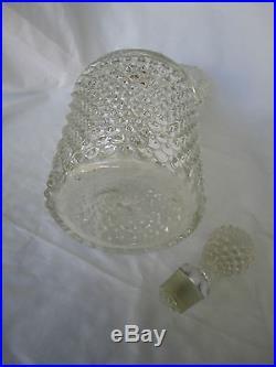 Antique Thousand Eye Eyes Hobnail Pitcher Decanter blown & pressed vintage glass