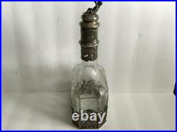 Antique/Vintage Etched Crystal Decanter With Sterling Base and Stopper Topped By C
