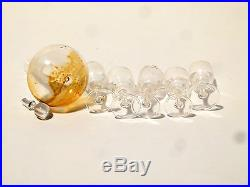Antique Vintage Miniature Dolls House Decanter & Wine Glasses Clear Glass Fab