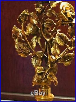 Antique Vtg Gold Gilded Ormolu Glass Dauber Perfume Cologne Bottle Decanter Rose