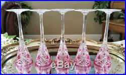 BACCARAT Vintage Pink Cut to Clear Crystal Liqueur Decanter & 5 Cordial Glasses