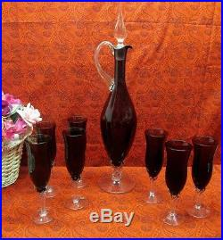 BEAUTIFUL VINTAGE 50s EMPOLI AMETHYST BLOWN GLASS DECANTER CHAMPAGNE WINE FLUTES