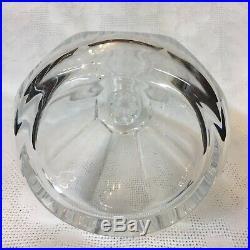 Baccarat Signed Crystal Whiskey Decanter & Vintage Enamel Liquor Tag France