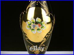 Barbini Murano Amethyst Decanter & Wine Glasses Set, Vintage Raised Floral Gold