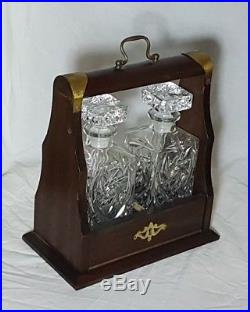 Beautiful Pair of Heavy Square Glass Decanters with Vintage Tantalus