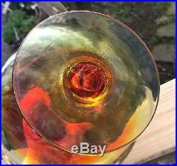 Beautiful Vintage Blenko Glass 6212 Tangerine Amberina Pedestal Vase Decanter