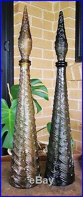Beautiful Vintage Caramel Topaz Waves Italian Art Glass Genie Bottle Decanter