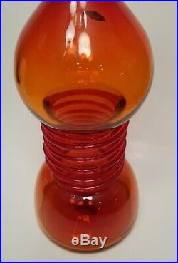 Blenko 1967 Tangerine Decanter Vintage 6713 Joel Philip Myers No Stopper