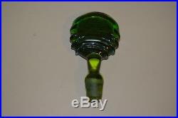 Blenko #6822 Olive Green Spiral 18 Decanter with Stopper & Sticker Vintage 1968