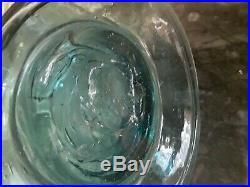 Blenko Aqua Green Large Vintage Pinched Glass Decanter with Flame Stopper