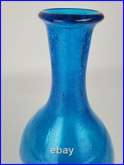 Blenko Blue Crackle Dimple Glass Decanter Vtg MCM Genie Bottle 16.5