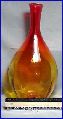 Blenko Decanter Vintage 11 Paneled Hand Blown Amberina witho Stopper