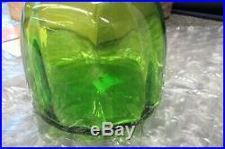 Blenko Hand Blown Green Art Glass Decanter Jar Stopper Face 1965 Vintage Woman