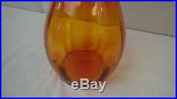 Blenko Vintage Orange Art Glass Decanter with Stopper Mid Century Modern 22 tall
