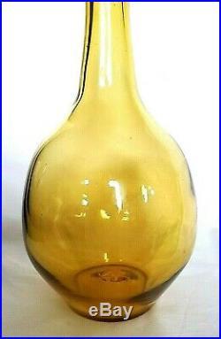 Blenko Vintage Yellow Amber Art Glass Decanter with Stopper Mid Century Modern