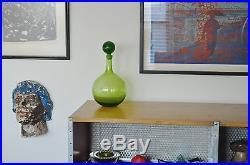 Blenko Vtg Mid Century Modern Green Art Glass Decanter Stopper 654 Myers Husted