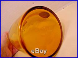 Blenko Winslow Anderson Yellow to Amber Glass Bent Neck Decanter with Stopper Vtg