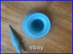 Blue Cased Genie Bottle Ships Decanter Mcm Glass Italy Vintage Hand Blown Empoli