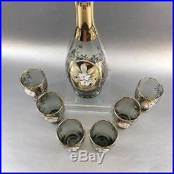 Bohemian Czech Silver Gray Vintage Flowers Decanter Glass Cordial Bar Set