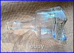 Clear Glass Art Deco Decanter & Stopper Vintage RARE 4 Point Geometric Base