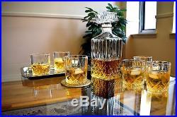 Crystal Whiskey Decanter Set Glass Brandy Carafe Scotch Vodka 7X Vintage No Tax!