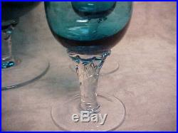 DECANTER & STEM GLASS SET Beverage / Wine Aqua Marine Blue Rare very vintage