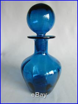 Decanter Liquor Blenko Cruet Royal Blue Blown Art Glass Crystal Water Vintage