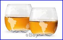 Decanter Whiskey Liquor Vintage Glass World Globe Scotch Wine Antique 2 Glasses
