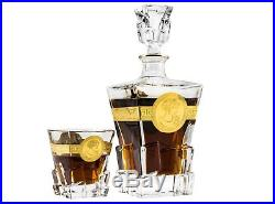 Denizli Spirits 7-pc Set of 30 Oz Bohemia Crystal Decanter with Vintage Glasses