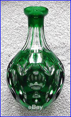 EMERALD GREEN Wine Decanter CUT TO CLEAR Lead CRYSTAL Germany BAMBERG Nachtmann