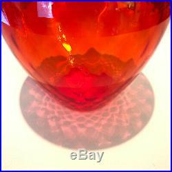 EMPOLI Italy Tall 26 Hand Blown Glass Genie Bottle Decanter Vintage Modern