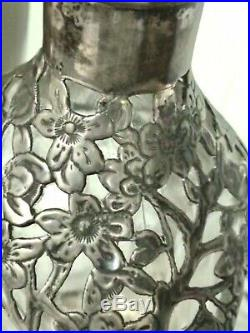 Elegant Chinese Export Silver Filigree Pinched 3 Sided Glass Decanter Marked Vtg