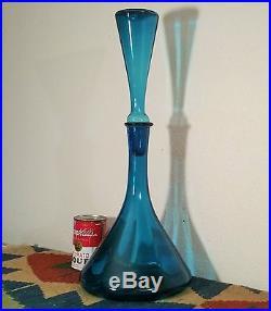 FAB mcm spaceage empoli optic art glass decanter vtg bottle italian peacock blue